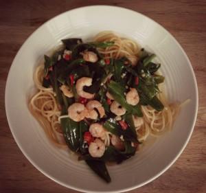 Spaghetti met lamsoren en garnalen