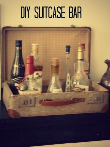 DIY suitcase bar
