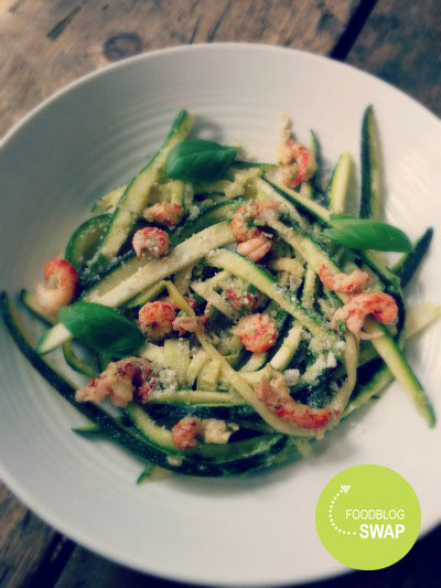 Courghetti met rivierkreeftjes