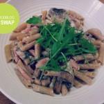 Pasta met spekjes en champignons