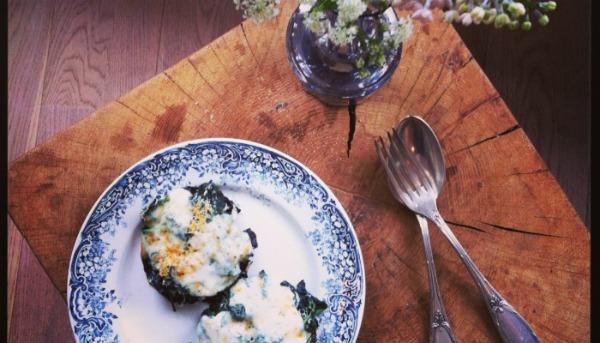 Gevulde portobello met spinazie