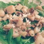 salade met aardpeer, champignons en geitenkaas