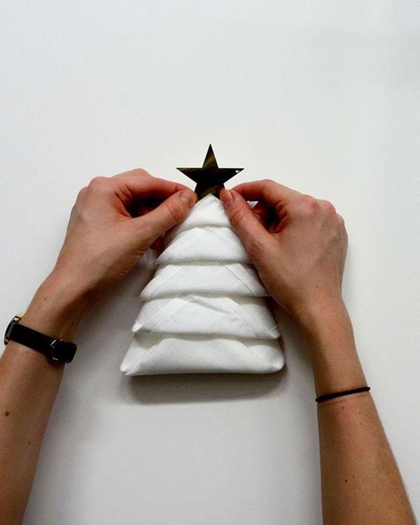 kerstboomservet met sterren piek