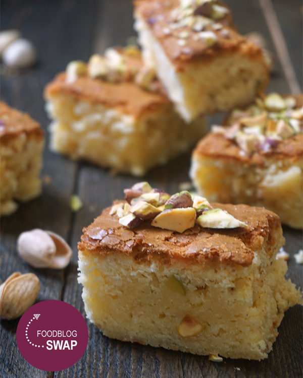 Blondies met pistachenootjes en rice crispies
