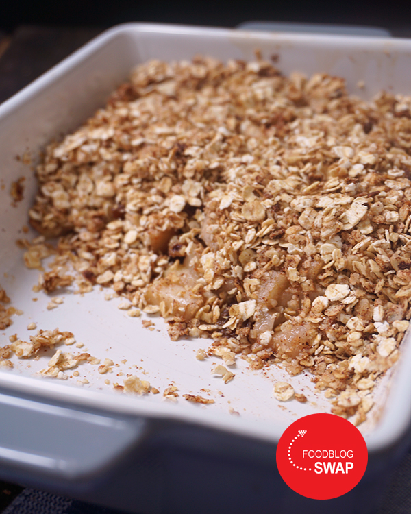 baked oats met peer en rozijnen